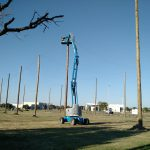 Installing Wood Pole Structure for Enclosed Netting