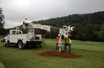 Drilling Ground to Set Support Pole