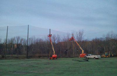 Driving Range barrier net panel installation