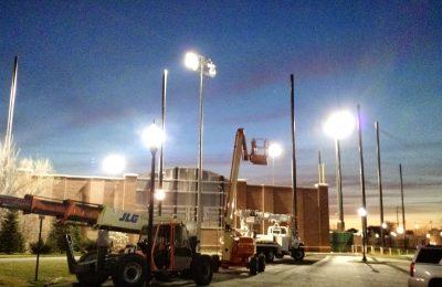 Baseball Field Barrier Netting & Lighting Installation
