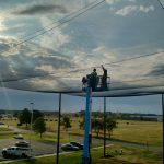 Installing Overhead Netting on Enclosure