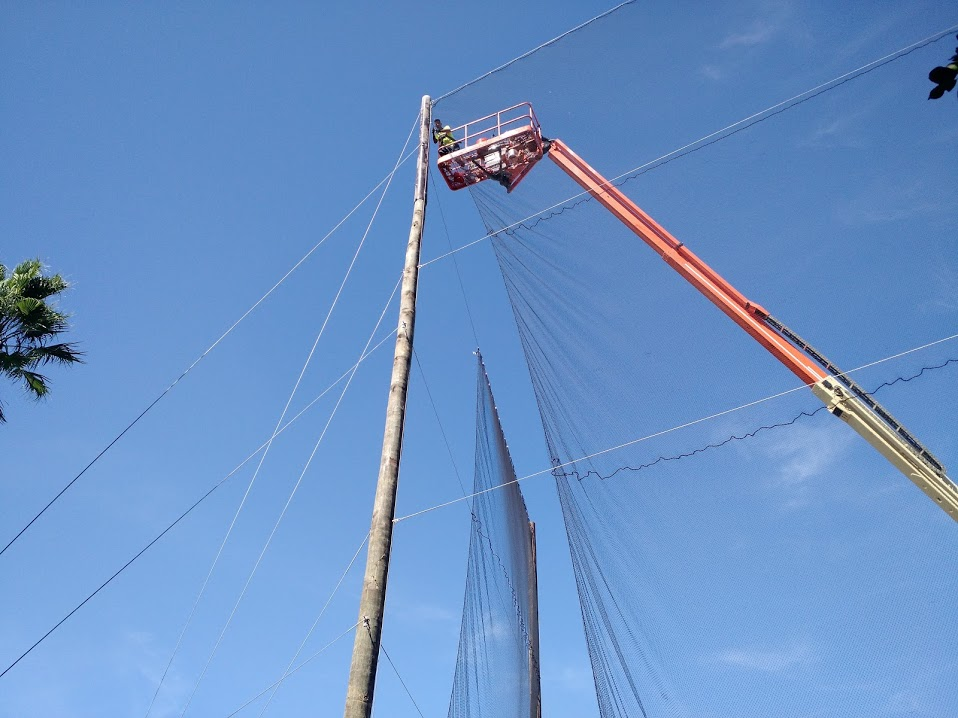 Hanging Barrier Net Panels 100' in the air