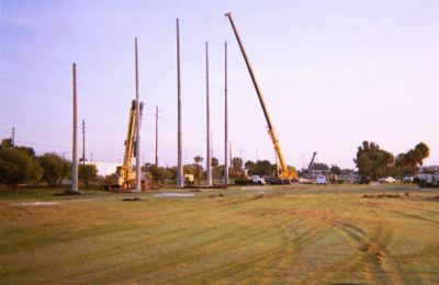 Installation of Barrier Netting Pole Support