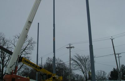 Steel Pole Netting Support Install