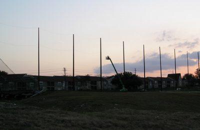 100 foot Wood Poles TopGolf Dallas