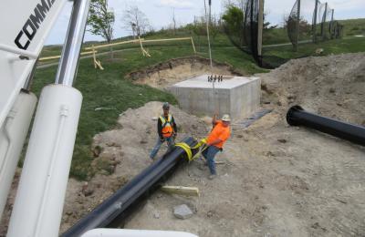 Driving Range Netting Pole Installation