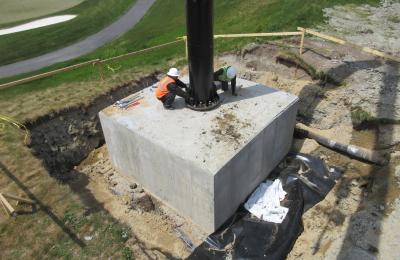 Steel Pole Installation onto concrete footer slab