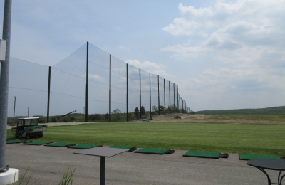 Almost completed Golf Club Driving Range Netting Installation