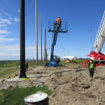 Steel Pole installation for Driving Range Netting Installation