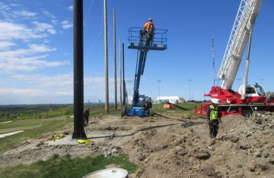 Steel Pole installation for Driving Range Netting Installation