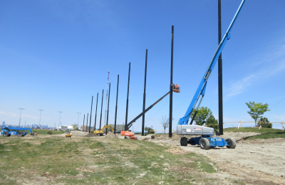 Support cable install for golf barrier netting