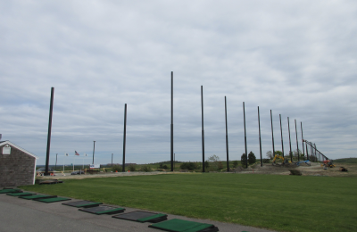 Starting to install the golf netting for the driving range