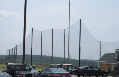 Completed golf netting installation for the driving range